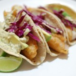 Beer Battered Fish Tacos with Spicy Cilantro Cream Sauce