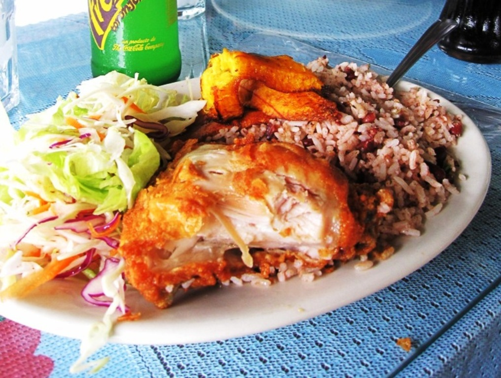 Costa Rican Fried Chicken & Rice & Beans